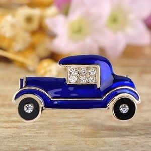 Jewelry - Blue Enamel Car Brooch with Crystals